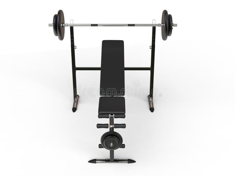 De bank van de hellingsgymnastiek met barbellgewicht en extra gewichtsplaten - hoogste vooraanzicht stock afbeelding