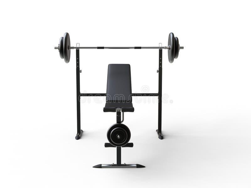 De bank van de hellingsgymnastiek met barbellgewicht en extra gewichtsplaten - vooraanzicht royalty-vrije stock foto's