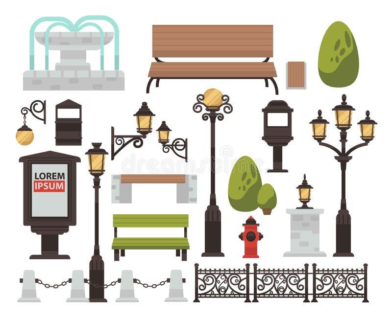 De bank van het straatdecor en straatlantaarnstruik en omheining openlucht stock illustratie