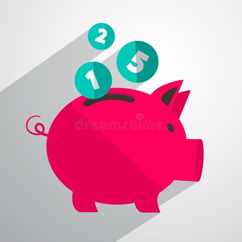 De Bank Vectorillustratie van het geldvarken stock illustratie
