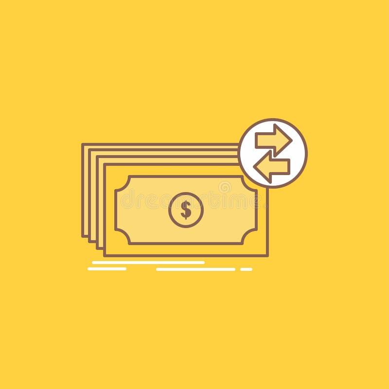 De bankbiljetten, contant geld, dollars, stroom, geld Vlakke Lijn vulden Pictogram Mooie Embleemknoop over gele achtergrond voor  vector illustratie