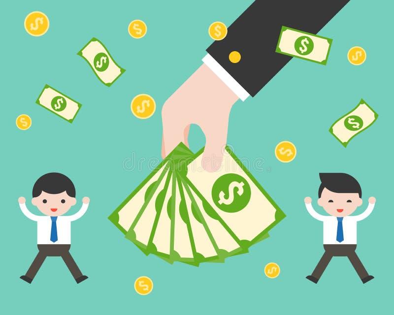De bankbiljetten van de handholding tussen gelukkige zakenman, bonus en incr royalty-vrije illustratie