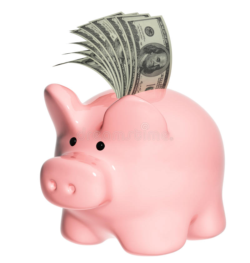 De bankbiljetten van het spaarvarken en van de dollar vector illustratie