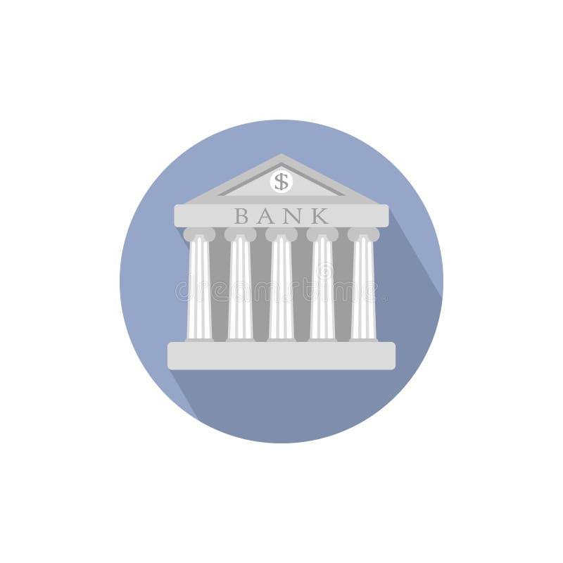 De bankbouw teken in cirkel De klassieke Roman architectuur van Griekenland vector illustratie