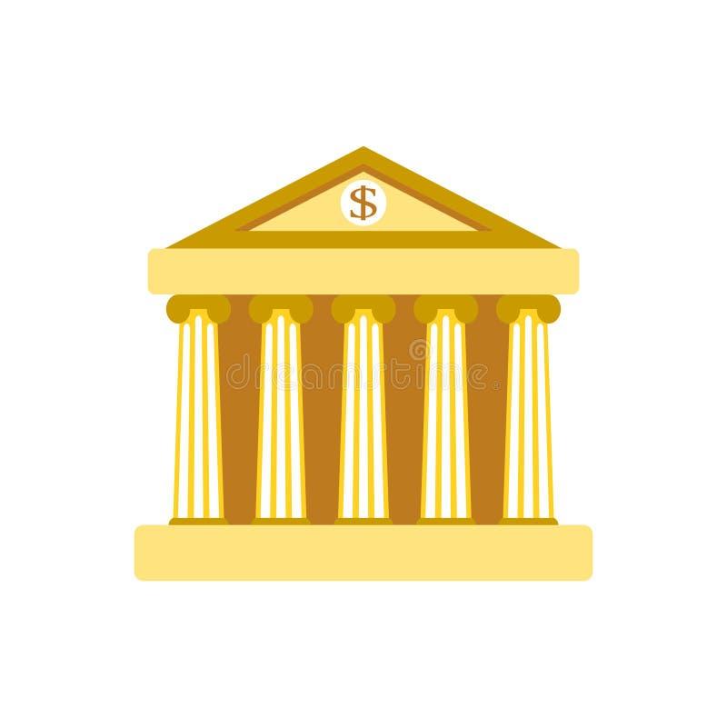 De bankbouw Teken De klassieke Roman architectuur van Griekenland in goud vector illustratie
