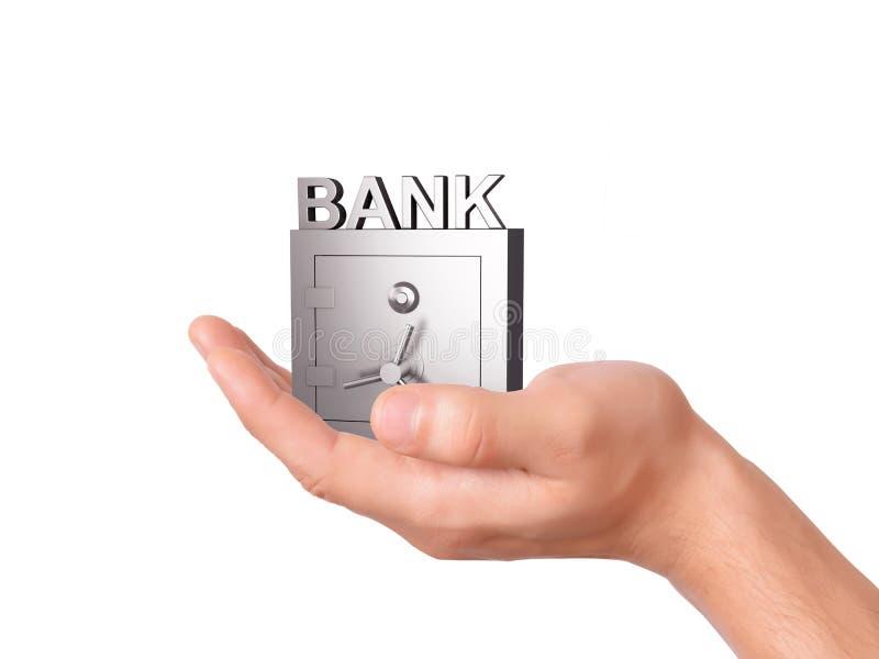 De Bankbrandkast van de handholding op witte Achtergrond royalty-vrije stock foto