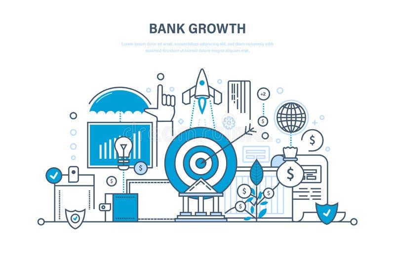 De bankgroei, investering, veiligheid van stortingen en betalingen, besparingen, elektronische handel royalty-vrije illustratie