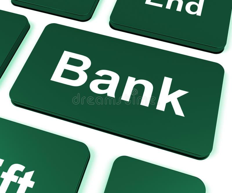 De banksleutel toont online of Internet-Bankwezen royalty-vrije illustratie