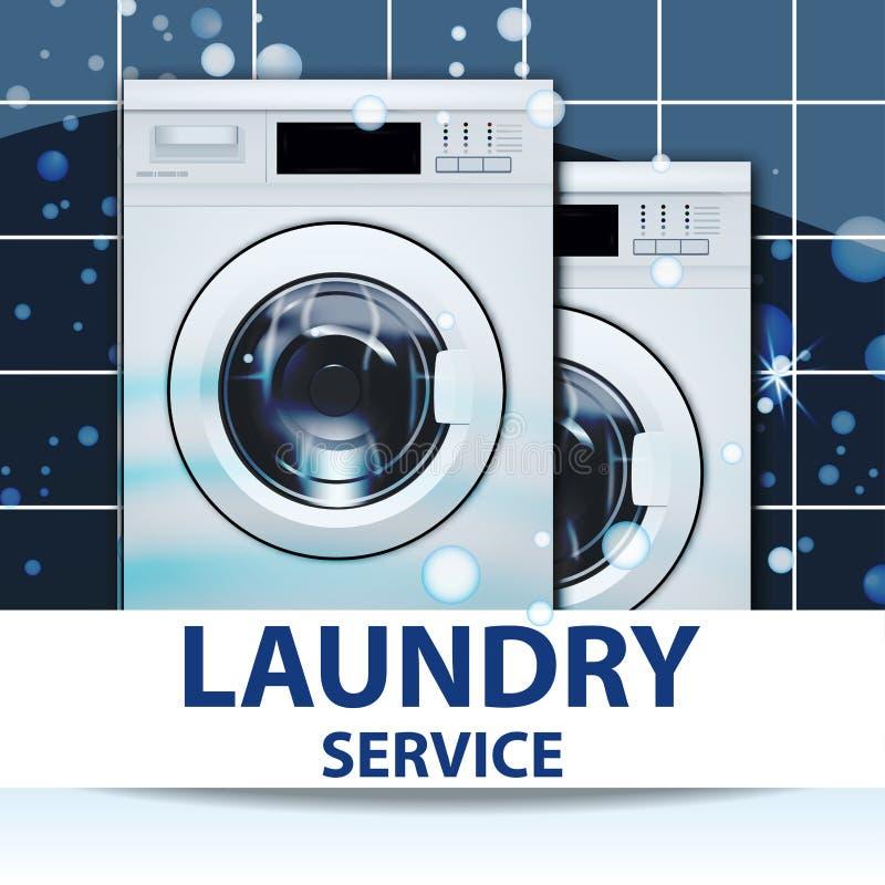 De banner of de affiche van de wasserijdienst Twee wasmachines 3D Realistische Vector Vooraanzicht, close-up, gesloten deur stock illustratie