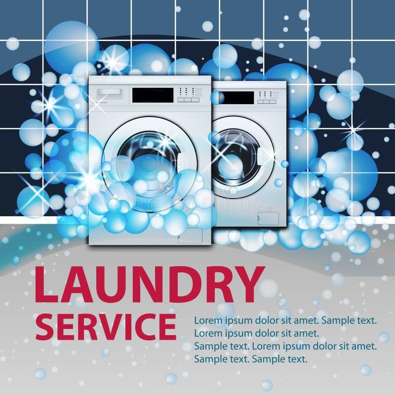 De banner of de affiche van de wasserijdienst Twee wasmachines voorlading op de lege achtergrond van de wasserijruimte met zeepbe stock illustratie