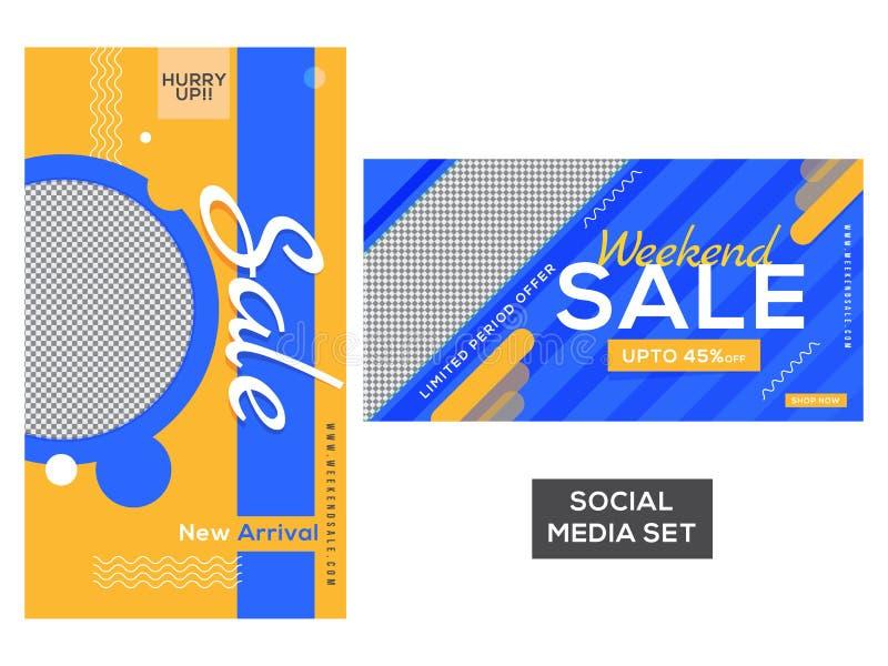 De banner of de affiche van de weekendverkoop die met kortingsaanbieding en ruimte wordt geplaatst vector illustratie