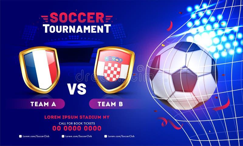 De banner of de afficheontwerp van voetbaltoernooien met voetbalbal en deelnemersteams stock illustratie