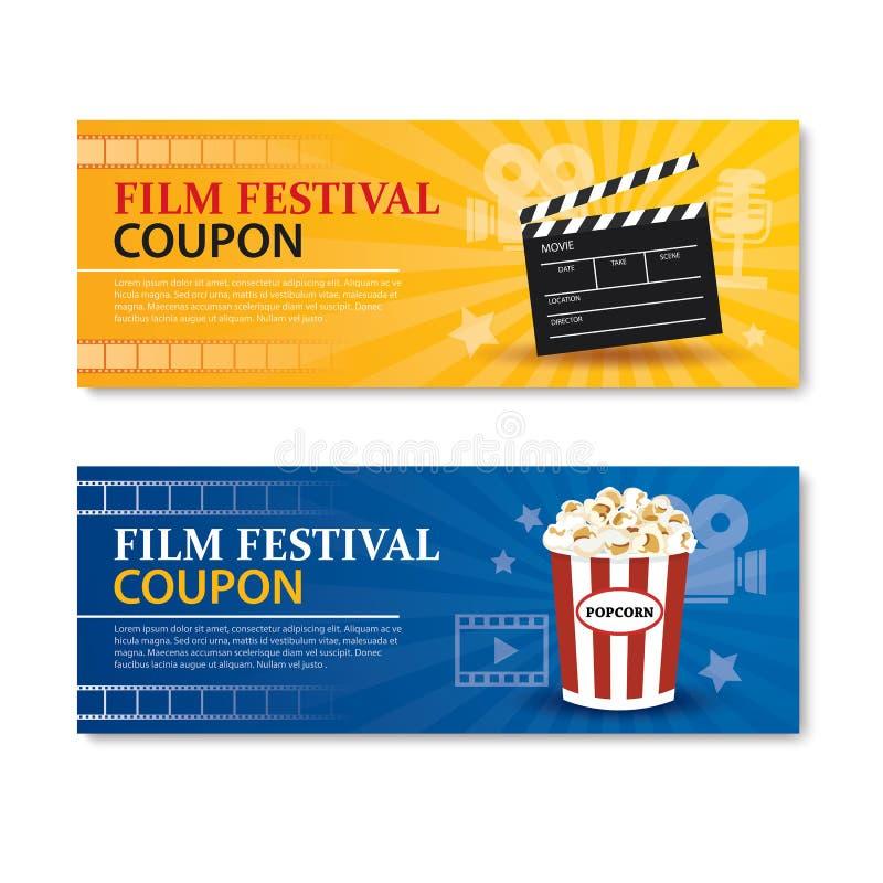 De banner en de coupon van het filmfestival Het elementenontwerp van de bioskoopfilm vector illustratie