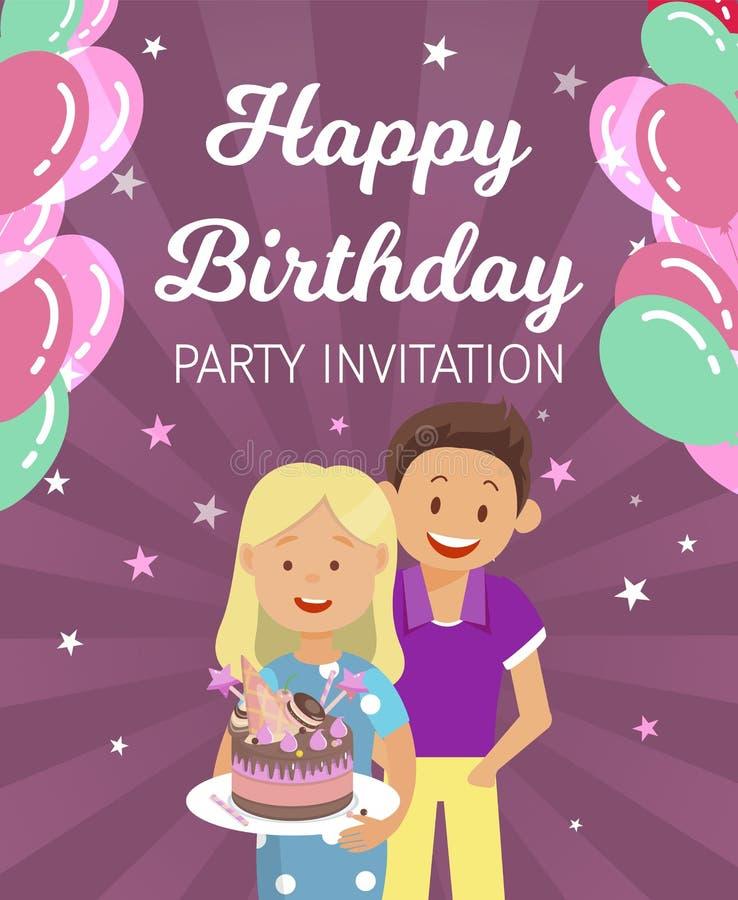 De banner Geschreven Gelukkige Uitnodiging van de Verjaardagspartij stock illustratie