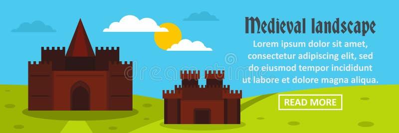 De banner horizontaal concept van het kasteel middeleeuws landschap vector illustratie