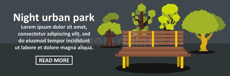 De banner horizontaal concept van het nacht stedelijk park royalty-vrije illustratie