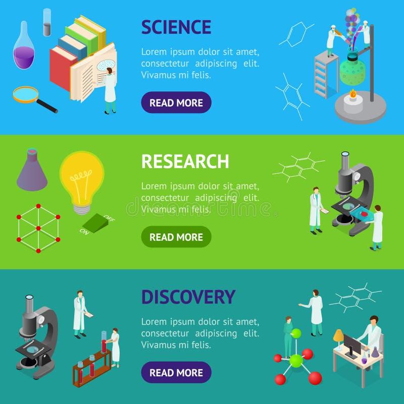De Banner Horizontale Reeks van het wetenschaps 3d Isometrische Weergeven van de Chemische Farmaceutische Concept Vector vector illustratie