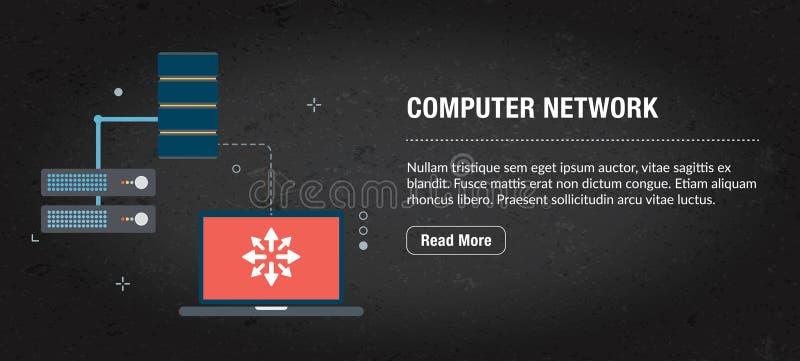 De banner Internet van het computernetwerk met pictogrammen in vector vector illustratie