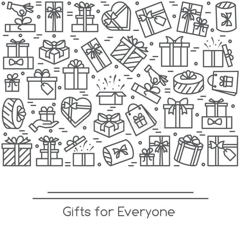 De banner met verpakte giftvakjes pictogrammen met editable slag verzamelde in vorm van rechthoekig vector illustratie