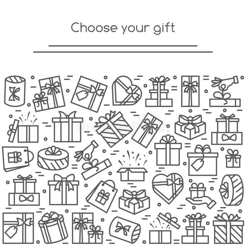 De banner met verpakte giftvakjes pictogrammen met editable slag verzamelde in vorm van rechthoekig stock illustratie
