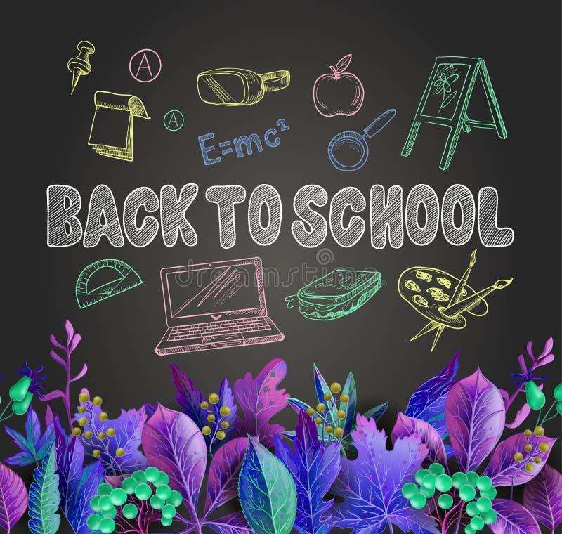 De banner terug naar school met bladeren en school levert, zoals een rugzak, laptop, bol en anderen, getrokken krijt op een bord royalty-vrije illustratie