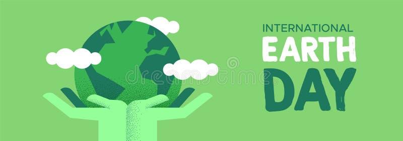 De banner van de aardedag van handen die groene planeet houden royalty-vrije illustratie