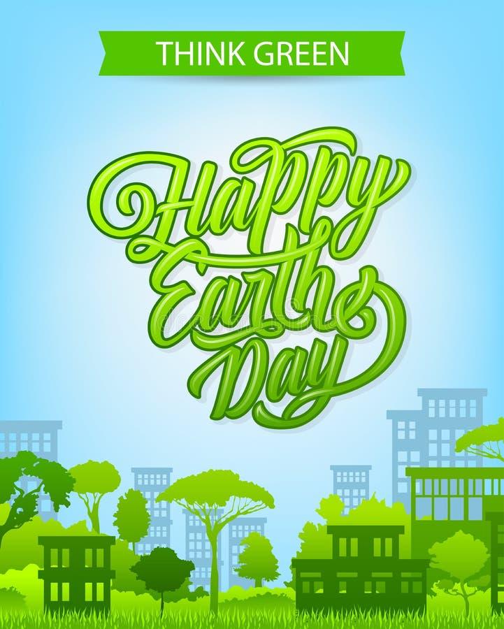 De banner van de aardedag met ecostad en groen huis stock illustratie