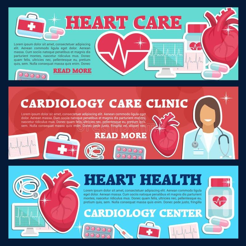 De banner van de cardiologiegeneeskunde voor de kliniek van de hartgezondheid stock illustratie