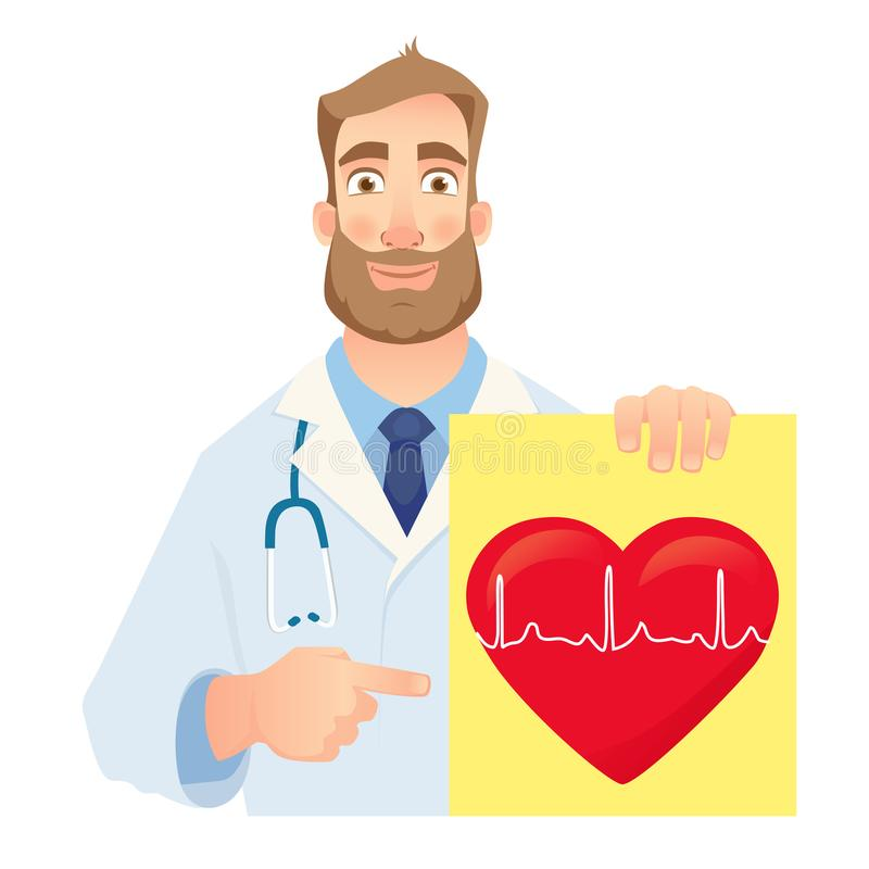De banner van de cardioloogholding royalty-vrije illustratie