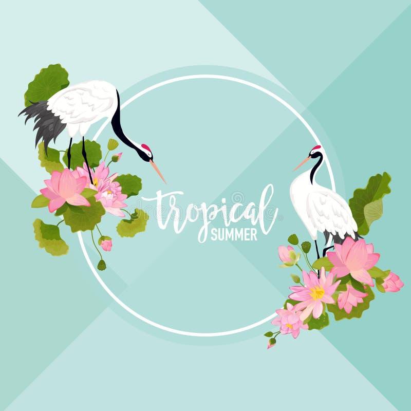 De Banner van Crane Birds, van Lotus Flowers en van de Bladerenzomer, Tropische Grafische Achtergrond, Exotische Bloemenuitnodigi stock illustratie