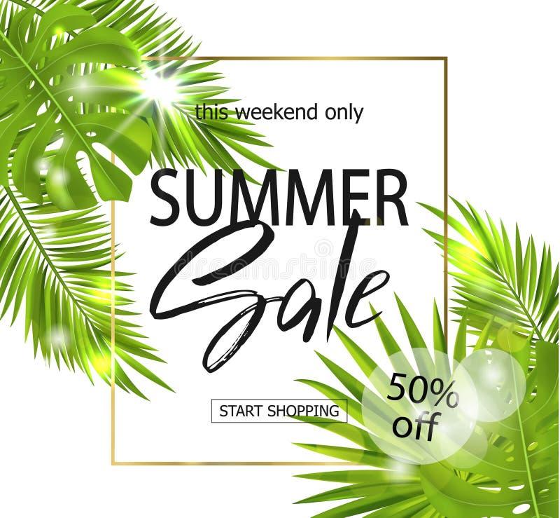 De banner van de de zomerverkoop, affiche met palmbladen, wildernisblad en handschrift het van letters voorzien Tropische achterg stock illustratie
