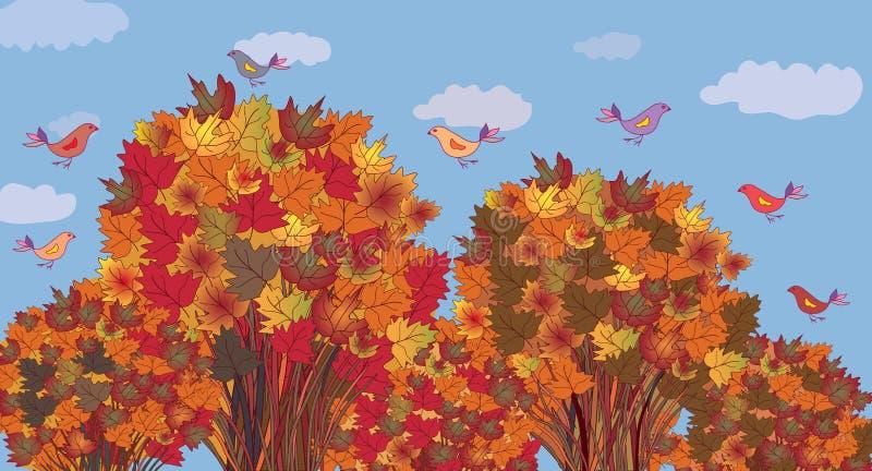 De banner van de herfst met esdoornbomen stock illustratie