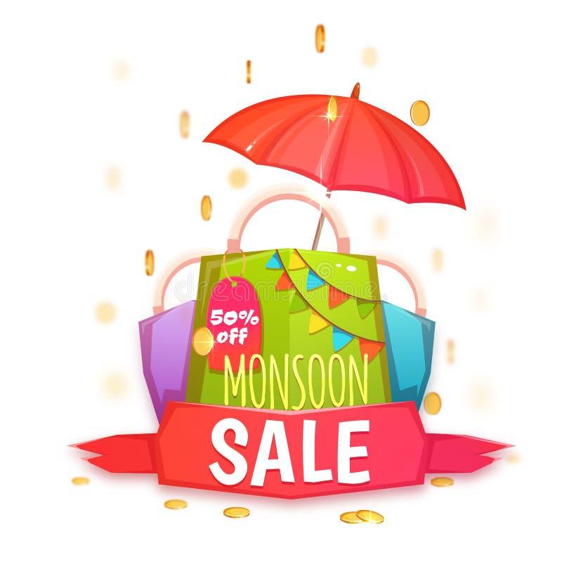 De banner van de moessonverkoop met kleurenpakket en muntstukken Vector illustratie stock illustratie