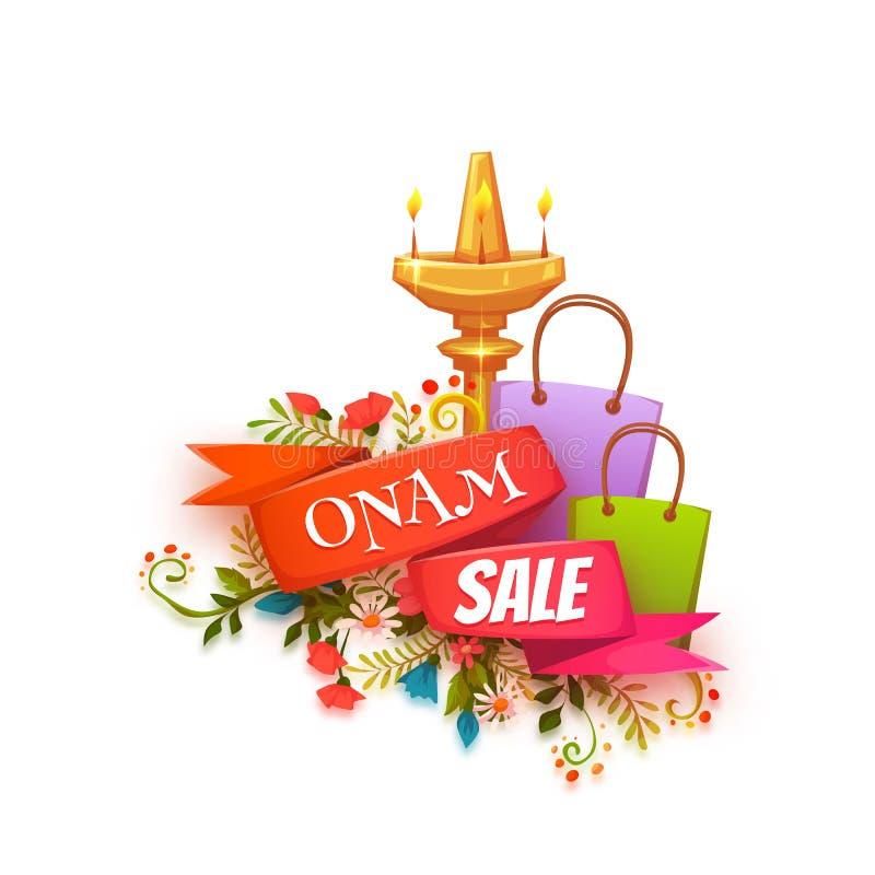 De banner van de Onamverkoop met lint Vector illustratie royalty-vrije illustratie