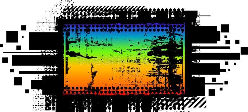 De banner van de regenboog in donkere grungestijl stock illustratie