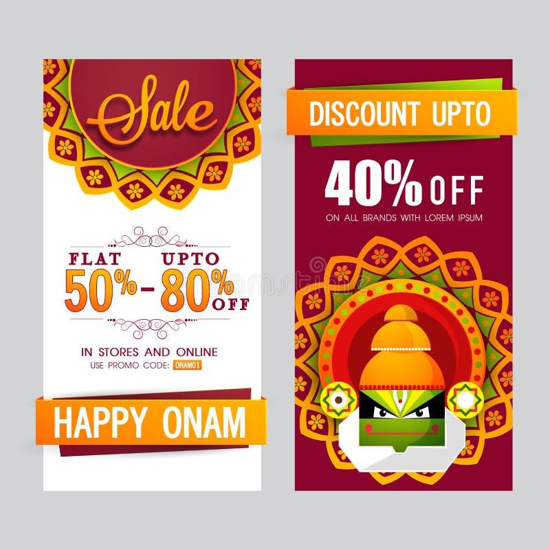 De banner van de verkoopwebsite voor Gelukkige Onam wordt geplaatst die vector illustratie