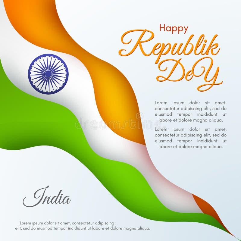 De banner van de Gelukkige Dag van de Republiek in het Malplaatje van India met tekst en het lint van kleuren van nationaal India royalty-vrije illustratie