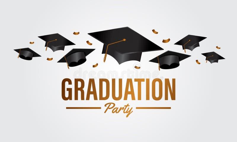 De banner van de de graduatiepartij van het onderwijsconcept met groep GLB en gouden confettien stock illustratie