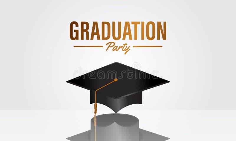 De banner van de de graduatiepartij van het onderwijsconcept met realistisch zwart GLB met bezinning vector illustratie