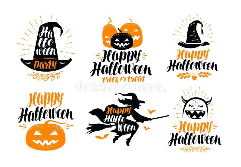 De banner van Halloween Vakantie, het etiket van de groetkaart of embleem Van letters voorziende Vectorillustratie royalty-vrije illustratie