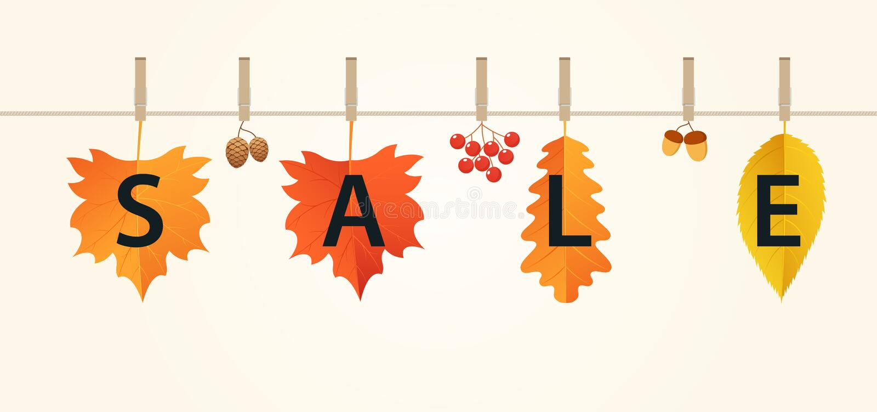 De banner van de de herfstverkoop met bladeren op kabel De herfstsamenstelling van rode, oranje en gele bladeren, eikels, viburnu royalty-vrije illustratie
