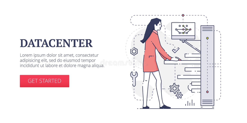 De banner van het Datacenterweb royalty-vrije illustratie