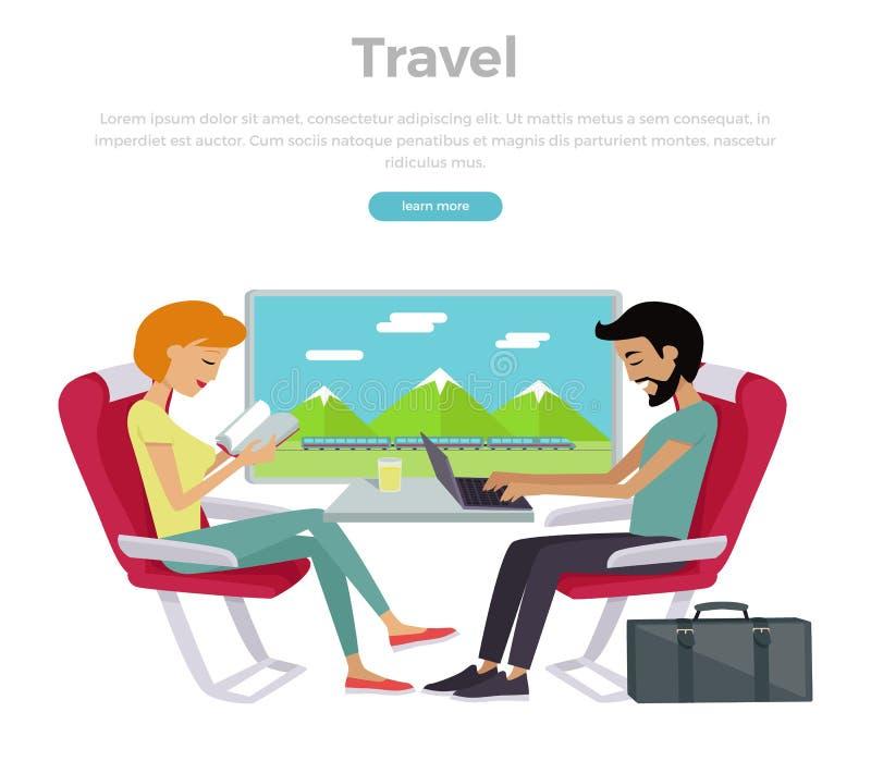 De Banner van het het Conceptenweb van de treinreis vector illustratie