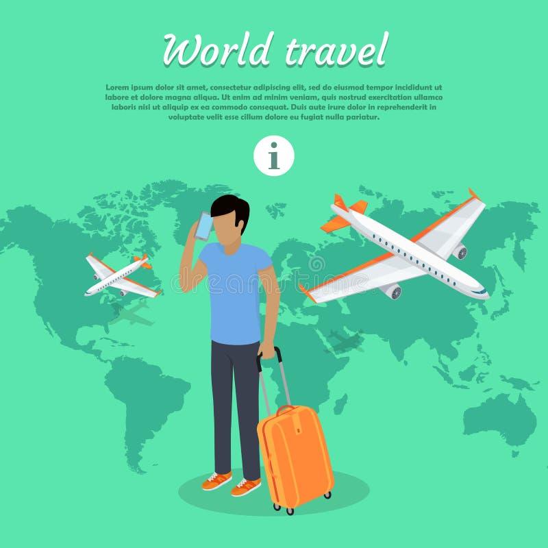 De Banner van het het Conceptenweb van de wereldreis Mens met Bagage vector illustratie