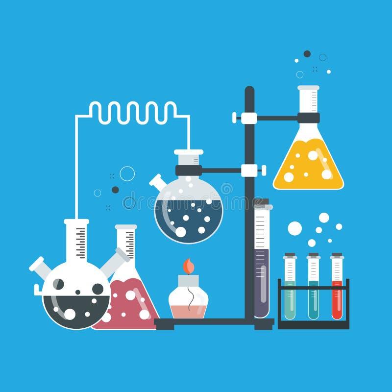 De banner van het laboratoriummateriaal Concept voor wetenschap, geneeskunde en kennis Vlakke vector royalty-vrije illustratie