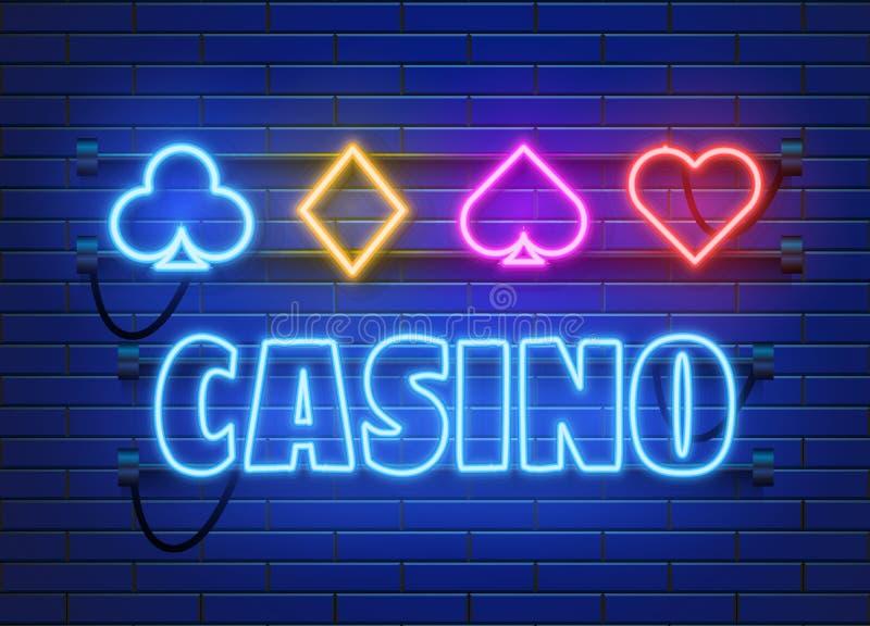 De banner van het T.L.-buiscasino op muurachtergrond Pook of blackjackkaartspelsteken Het Concept van Las Vegas stock illustratie