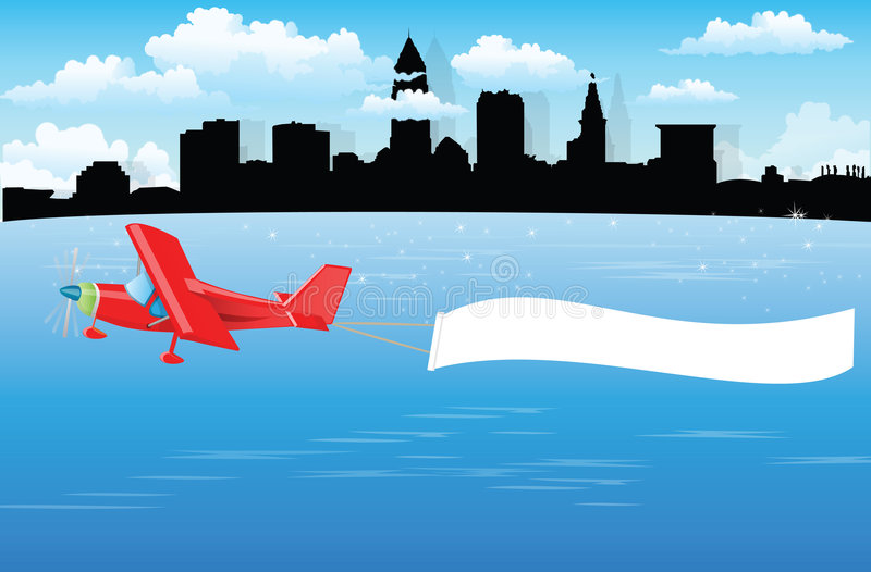 De banner van het vliegtuig