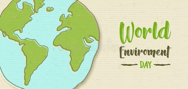 De banner van het wereldmilieu van groene aardebol royalty-vrije illustratie