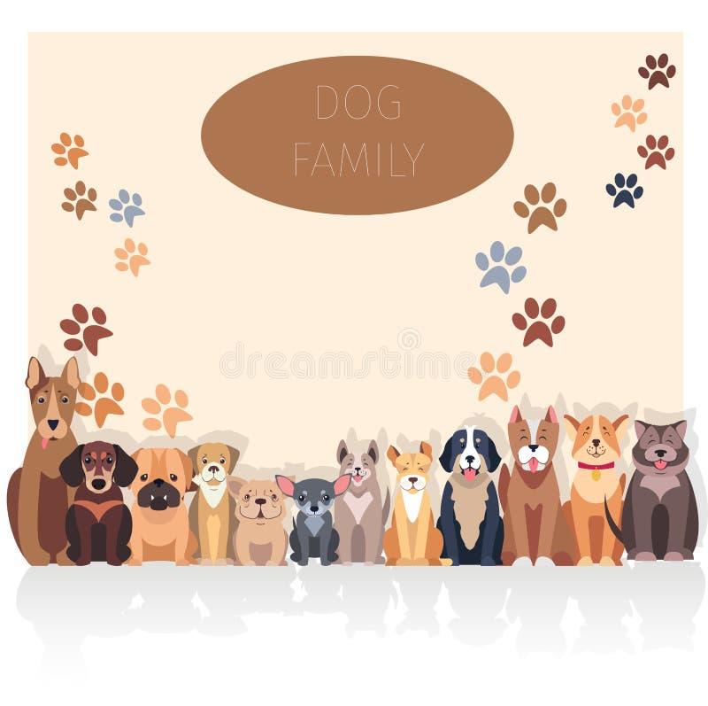 De Banner van de hondfamilie in Rasecht Concept Vector stock illustratie