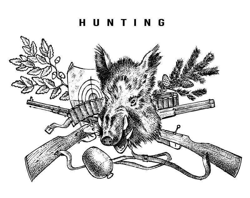 De banner van de de jachtclub Beer en geweerachtergrond Hunter Characters Hand getrokken gegraveerde uitstekende schets voor embl royalty-vrije illustratie